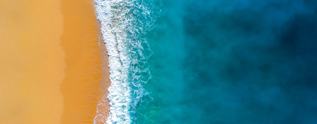 Aerial view of sea and waves
