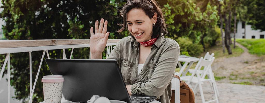 Entrepreneur hands waving greeting virtual event