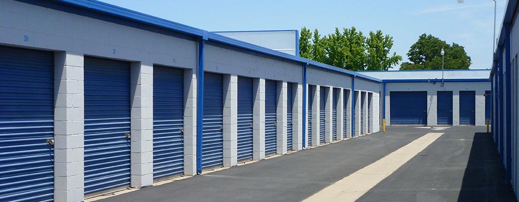Blue self storage doors